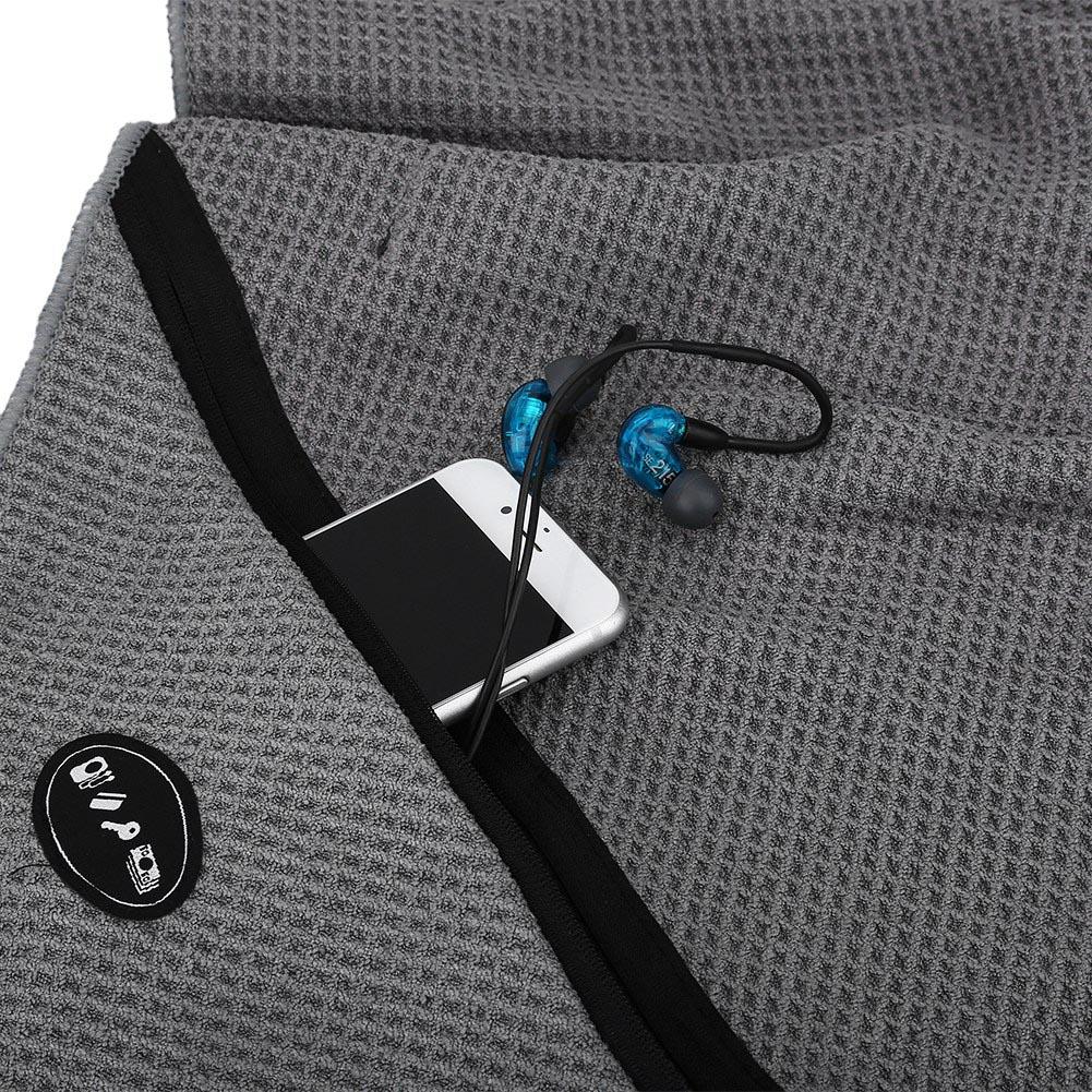 Microfiber Gym Towel With Zip: Microfiber Towel Travel Sports Beach Gym Camping Towel W