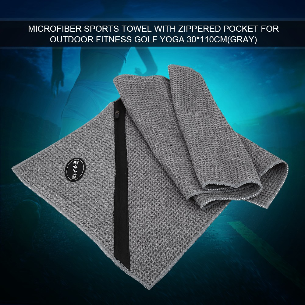 Microfiber-Soft-Towel-Water-Absorption-Fast-Drying-Golf-Towel-W-Zippered-Pocket thumbnail 13