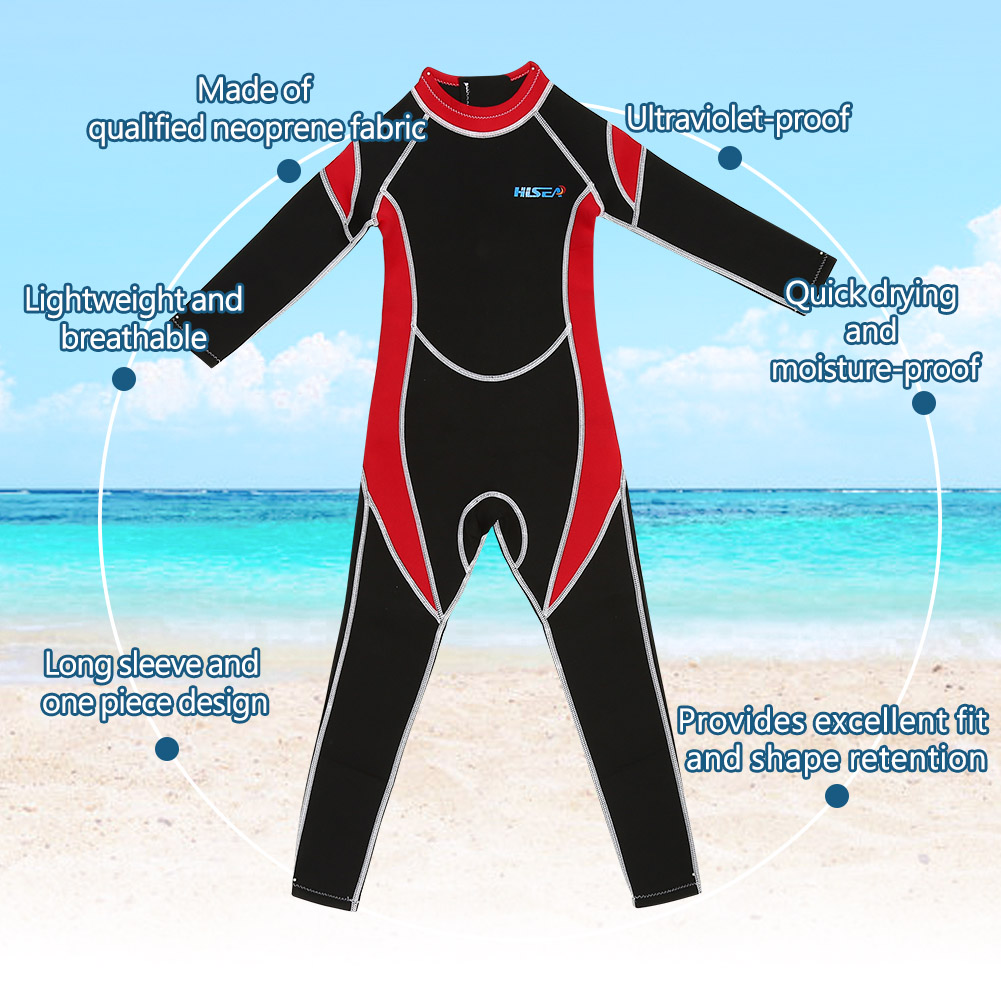 2-5MM-Neoprene-Scuba-Diving-WetSuit-Children-Long-Sleeve-Surfing-Swimwear-Kids-S thumbnail 14