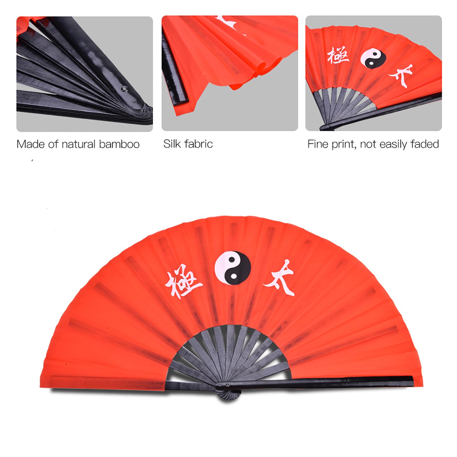 14-8-034-Tai-Chi-Martial-Arts-Kung-Fu-Bamboo-Fan-Red-Dance-Pratice-Folding-Peony-TD thumbnail 12