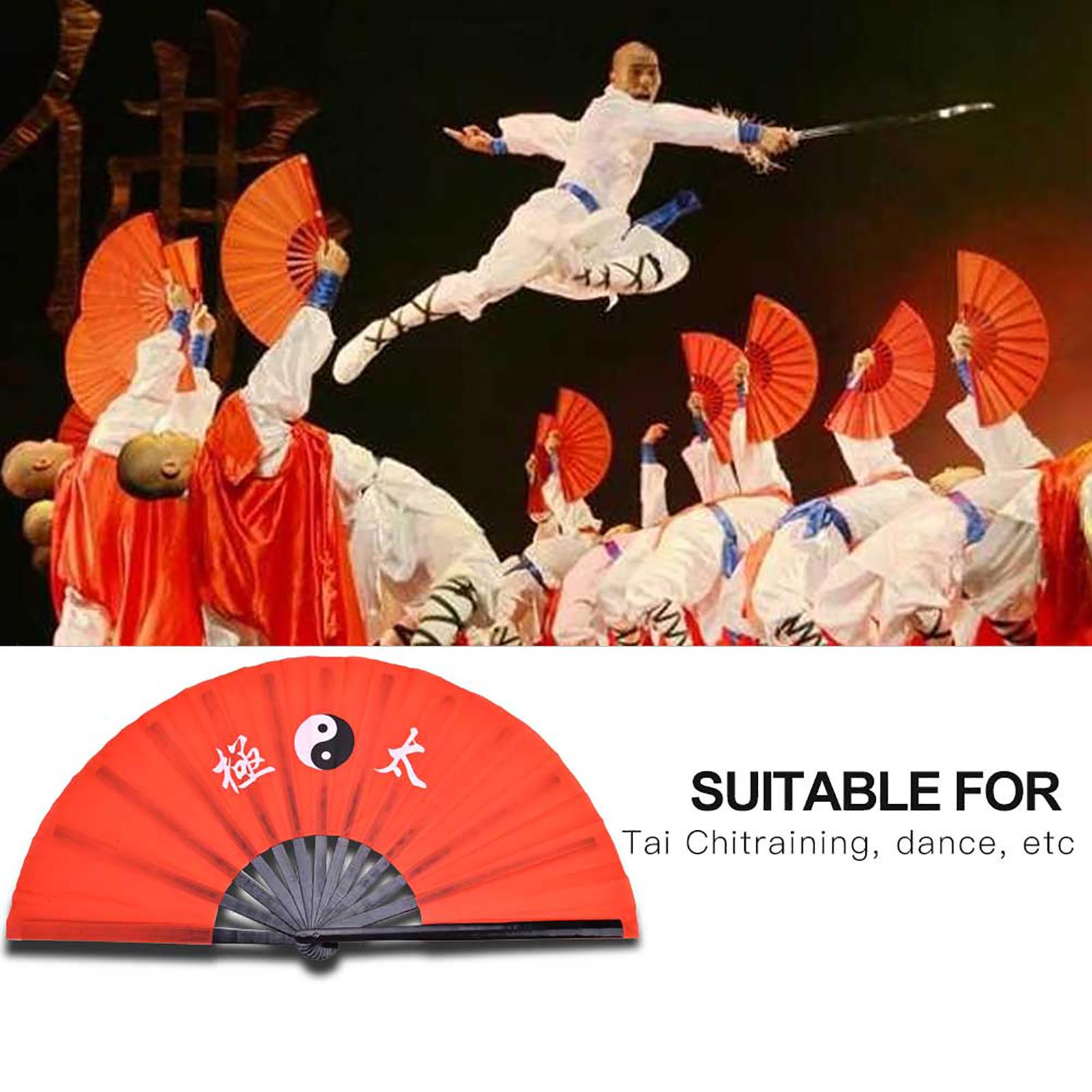 14-8-034-Tai-Chi-Martial-Arts-Kung-Fu-Bamboo-Fan-Red-Dance-Pratice-Folding-Peony-TD thumbnail 13