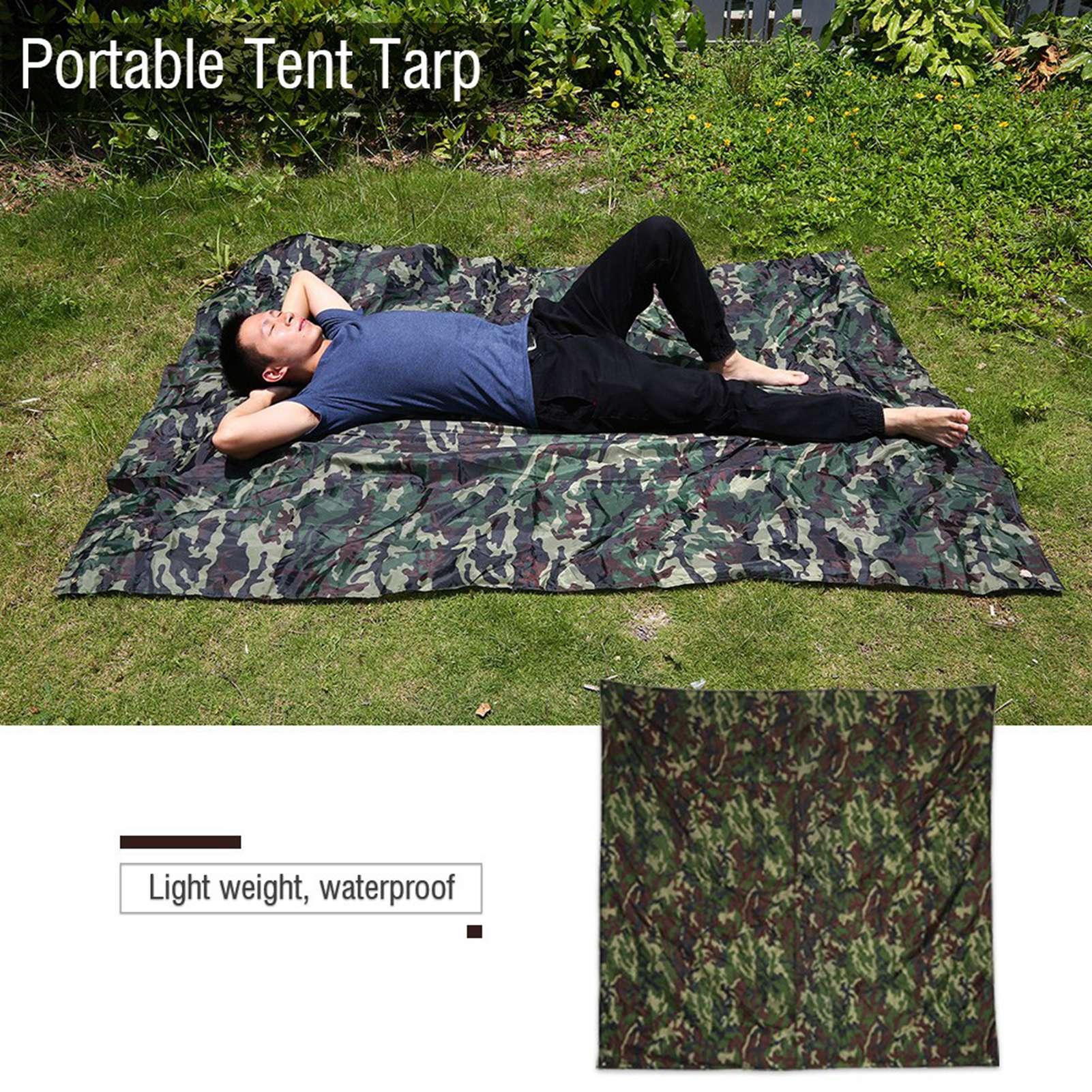 Portable-Bache-Anti-pluie-Anti-UV-Toile-de-Tente-Tarp-Abri-Camping-Camo miniature 13