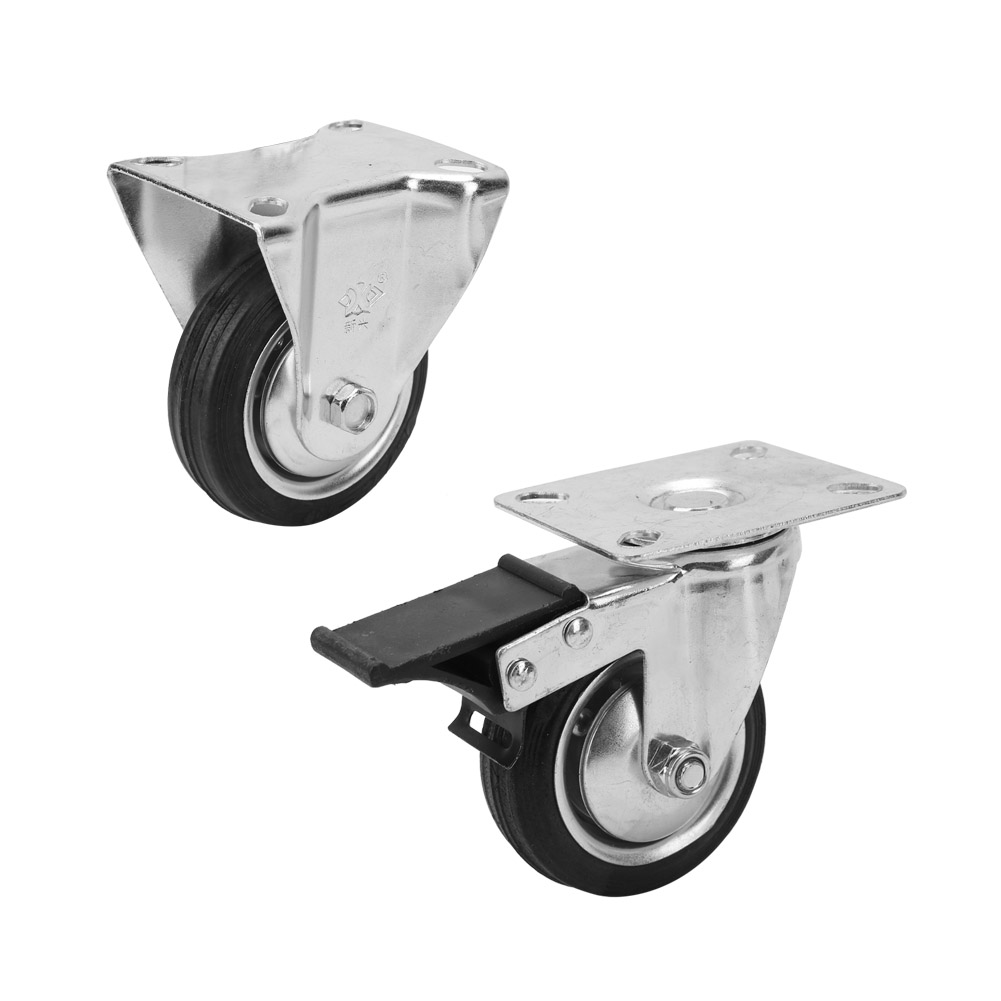 """Swivel Caster with 3-1//2/"""" x 1-1//4/"""" Rubber Wheel and Thread Guards 2-3156-442"""