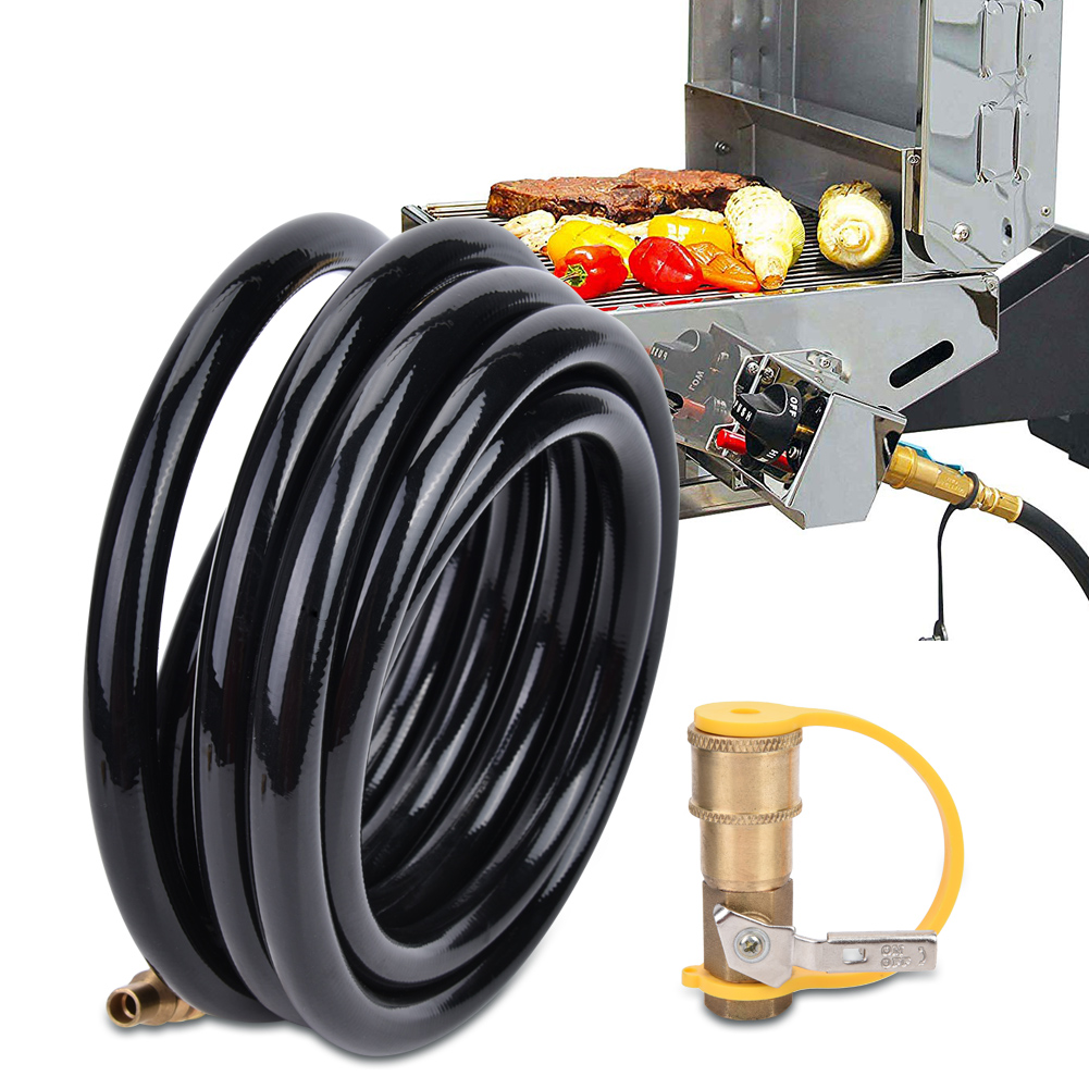 12/20 ft Propane Hose + 1/4 ON / OFF Quick Connect