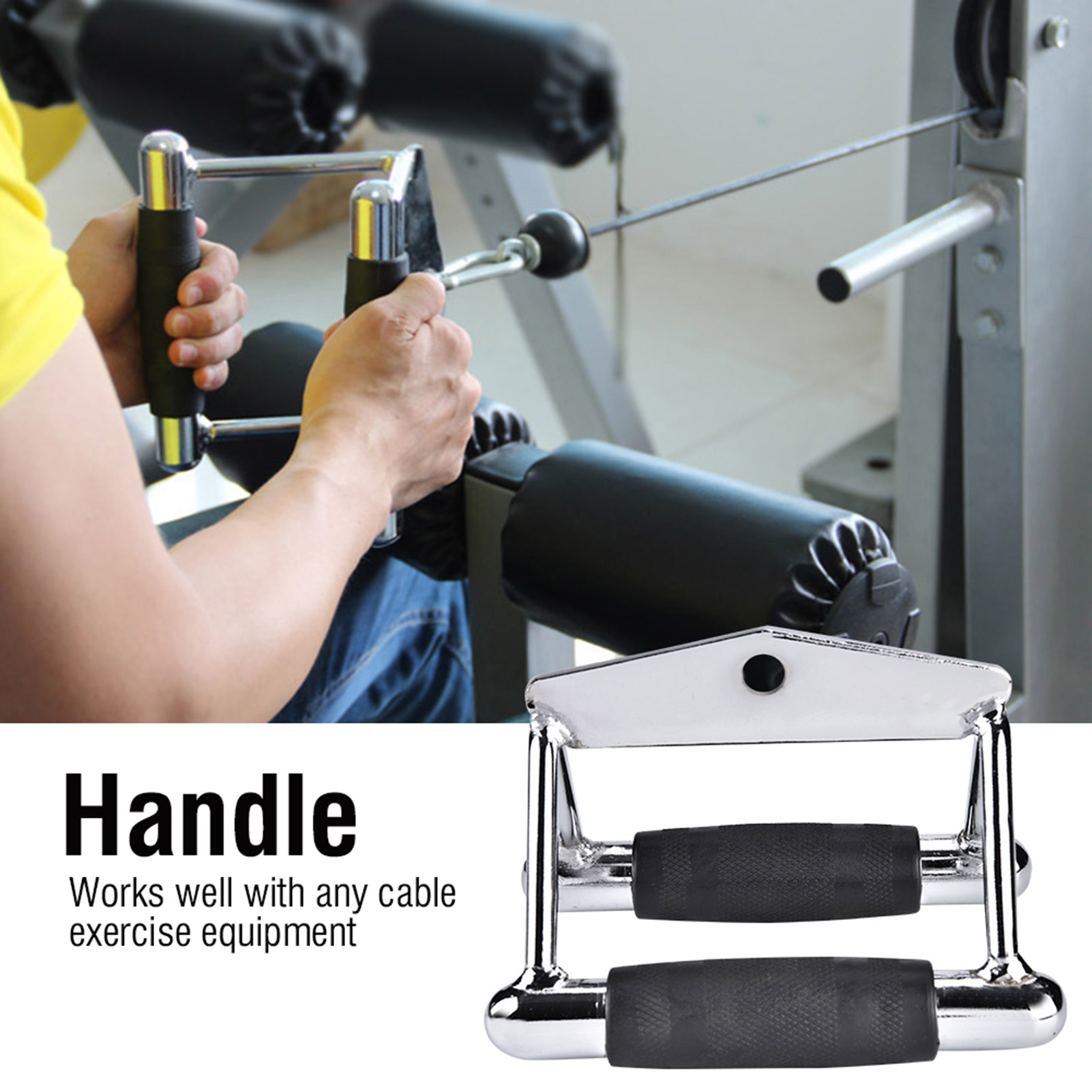Home-Gym-Cable-Attachment-Exercise-Machine-Tricep-Rope-V-Pull-Up-Bar-D-Handle-US thumbnail 11