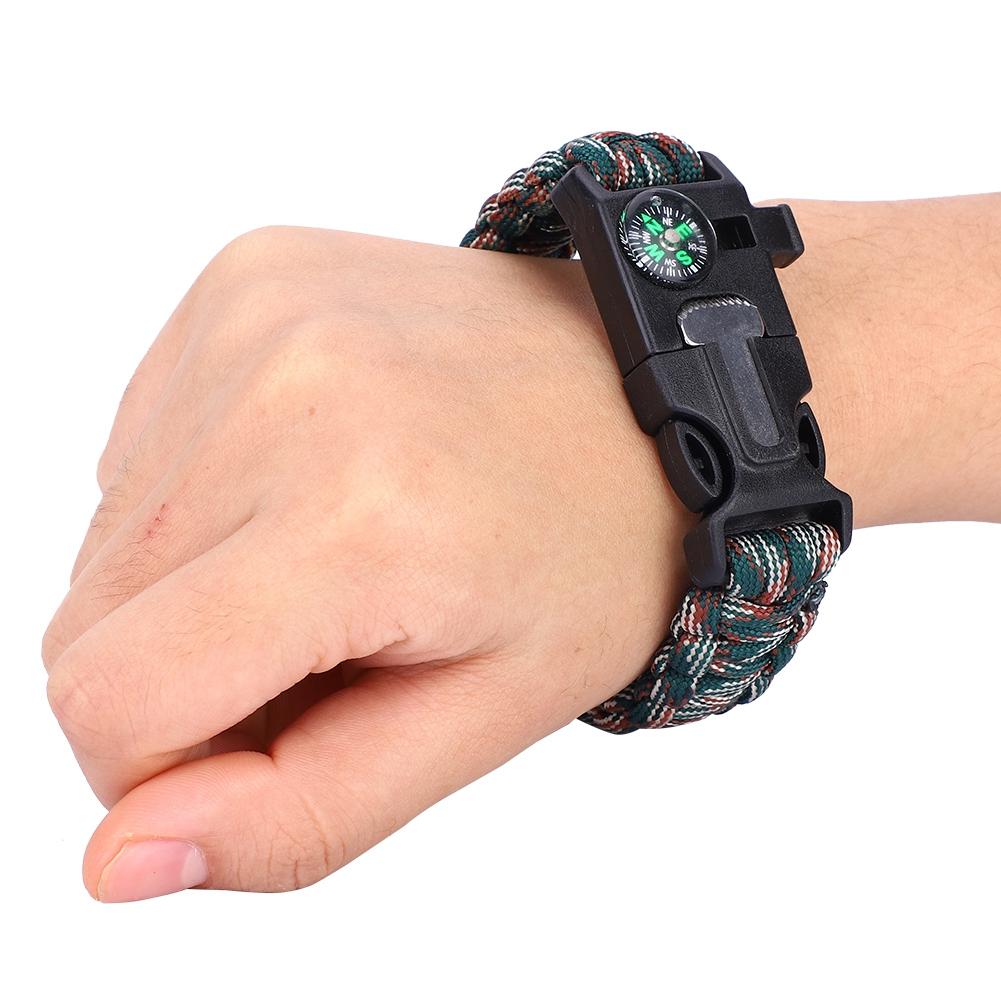 Paracord Survival Bracelet Compass Flint Fire Starter Whistle Scraper Gear S3N4U