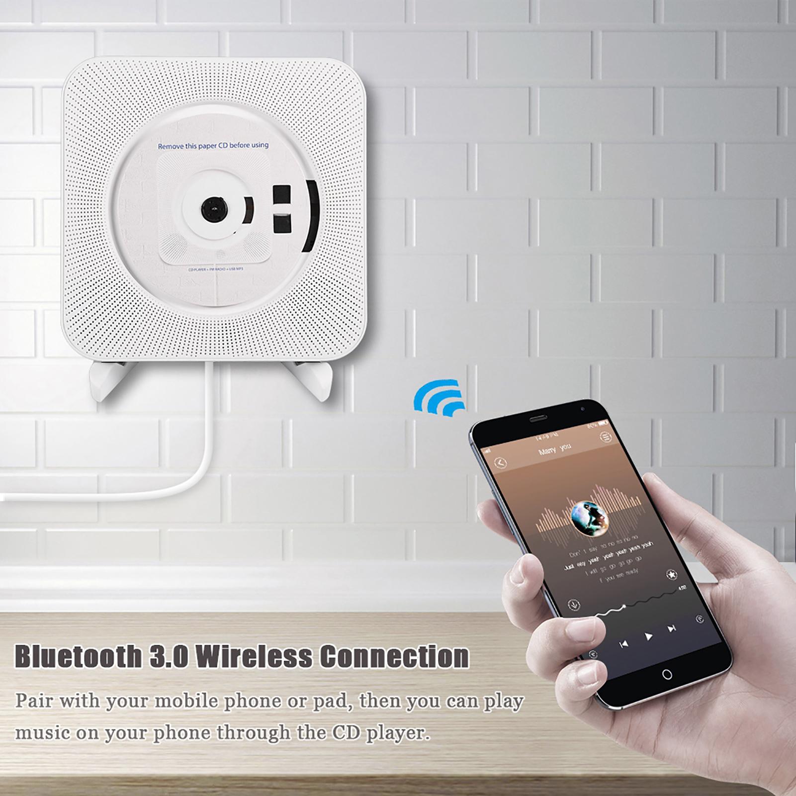 portable lecteur cd bluetooth 3 0 sans fil audio st r o usb mural blanc plug eu ebay. Black Bedroom Furniture Sets. Home Design Ideas