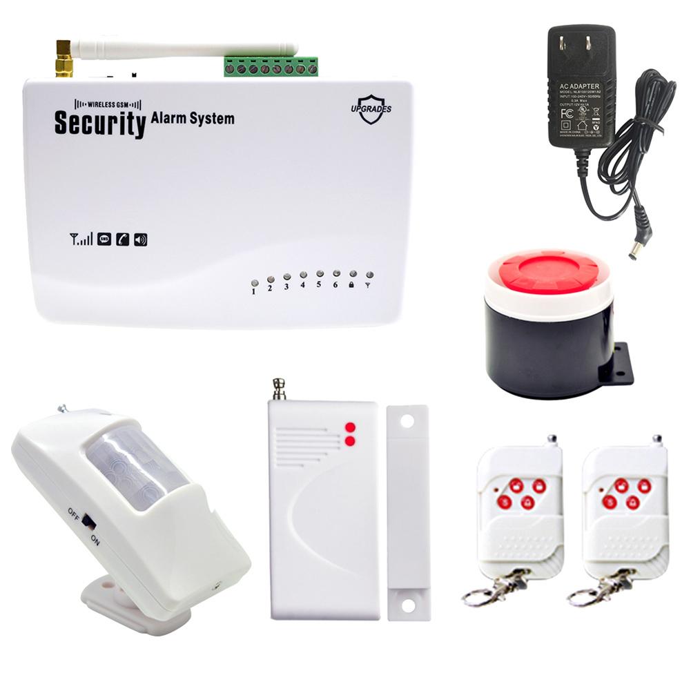 GSM SIM Wireless Wired PIR Home House Door Auto Alarm Security ...