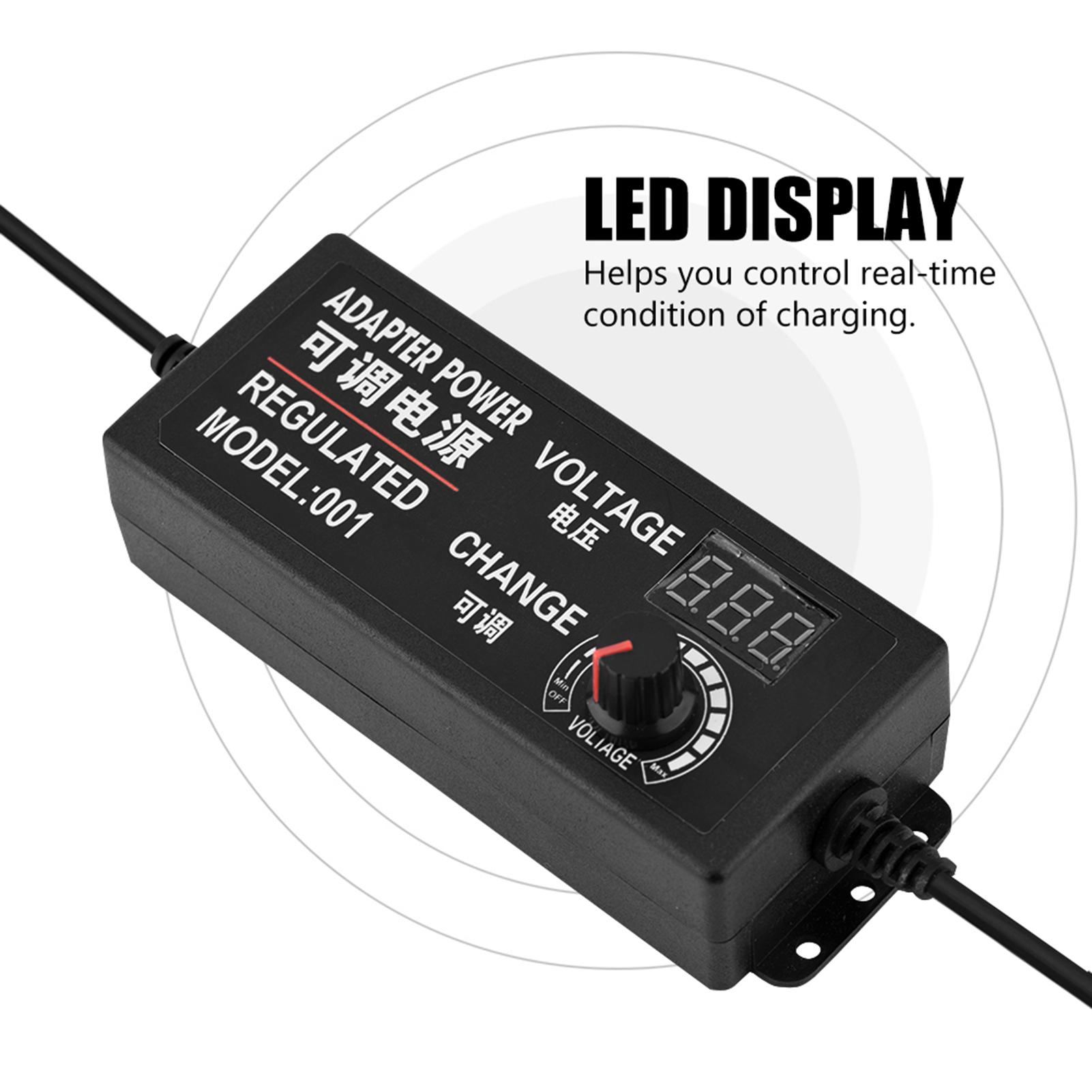 AC/DC Adjustable Power Supply Motor Speed Controller Adapter 9-24V/3 ...