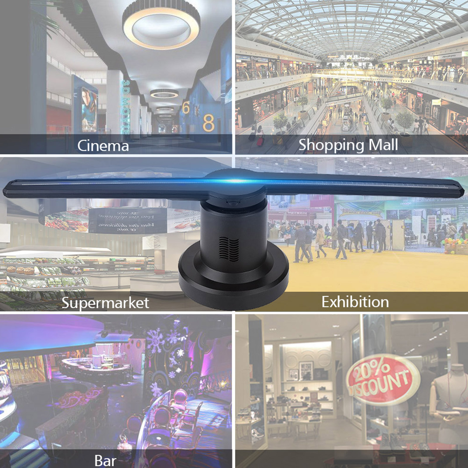 3D Hologram Projector Holographic WIFI LED Fan Advertising