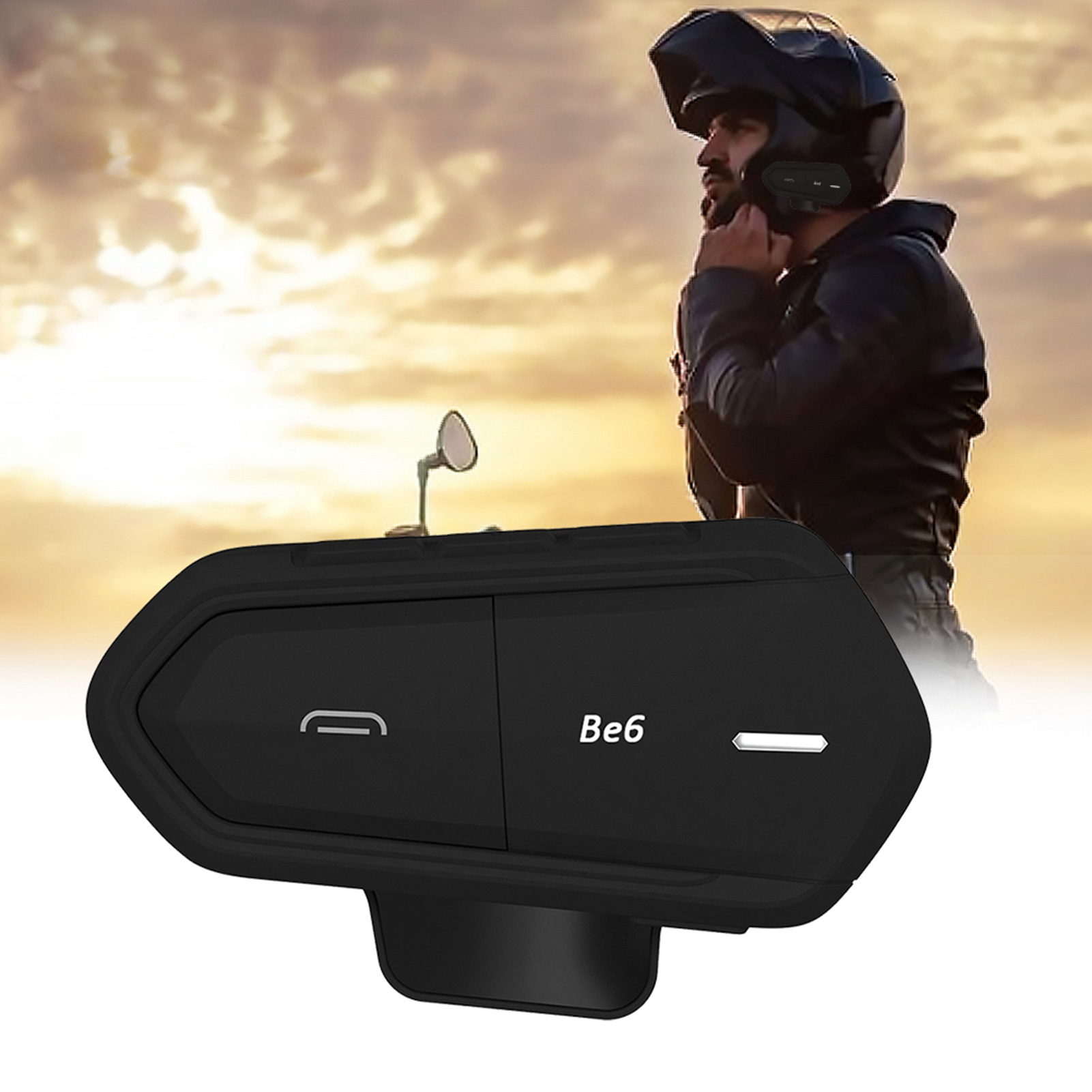 Wireless-Bluetooth-Helmet-Interphone-Earphone-Long-Distance-FM-Helmet-Headset miniature 14