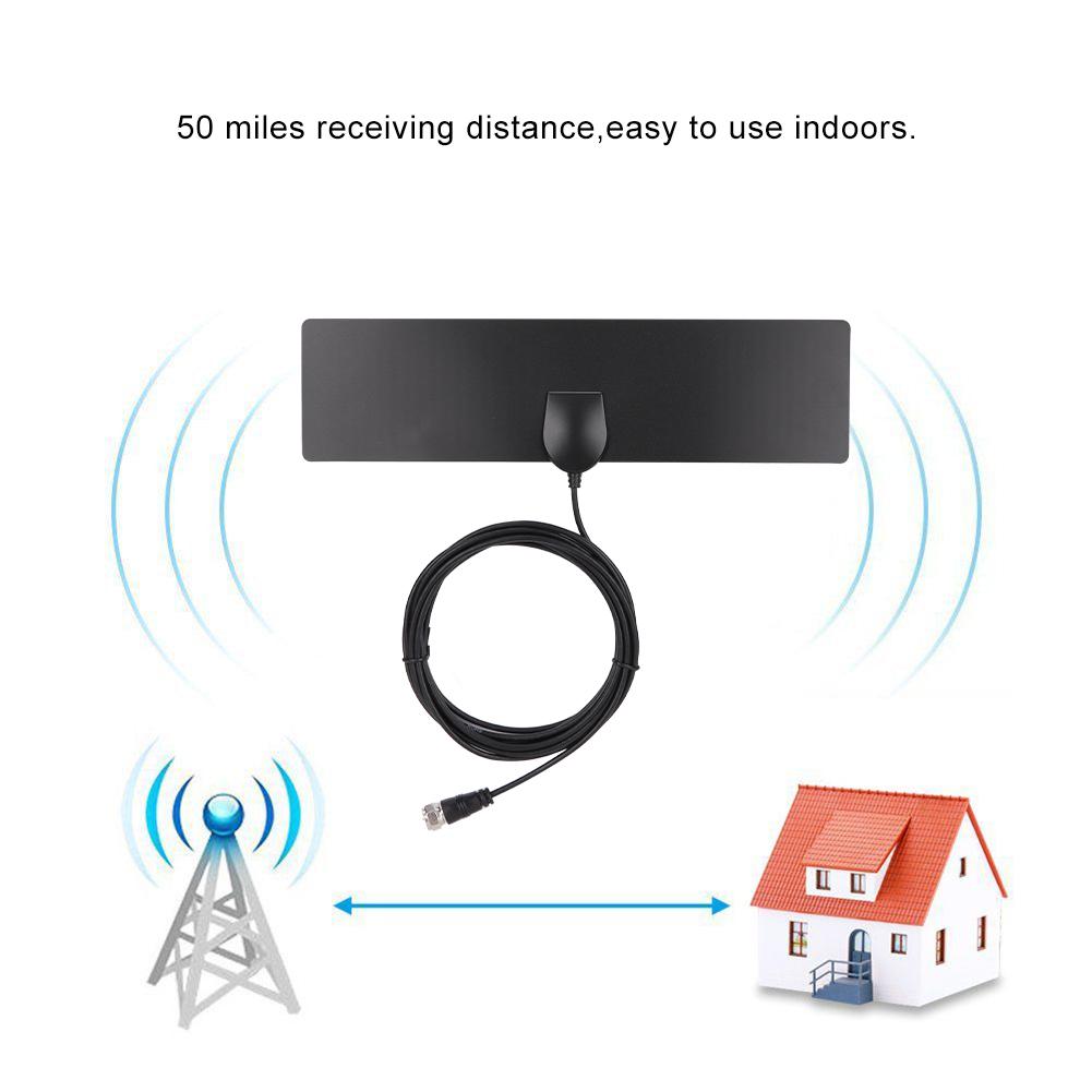 Universal Digital HDTV TV Antenna 50-Mile Receiving Range Amplified HD Digital Indoor Smart TV Antenna RG174 TV Signal Receiving Cable Vertical//Linear