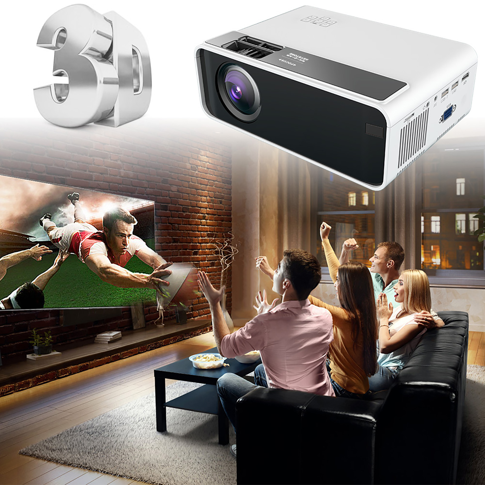 20 Lumens 20K 20P LED Projector WiFi Bluetooth Home Theater ...