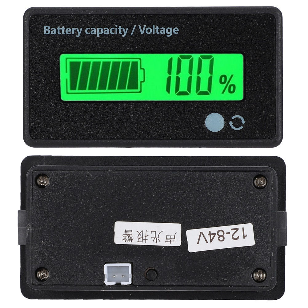 Battery Power Display with Reverse Connection Protection GY-6H 12-48V Universal Battery Capacity Indicator Voltmeter with LCD Display Green