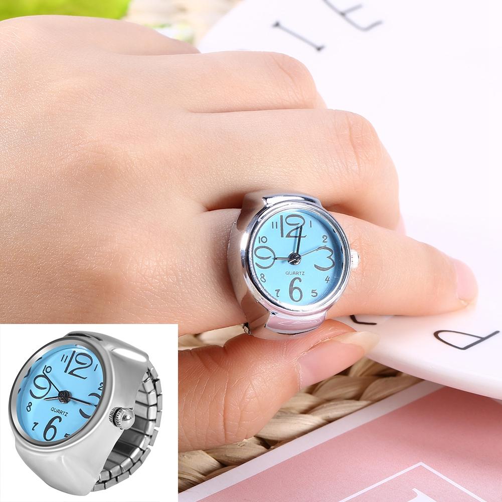 Women-Men-039-s-Finger-Rings-Watch-Quartz-Analog-Bracelet-Silver-Small-Watches-Gift
