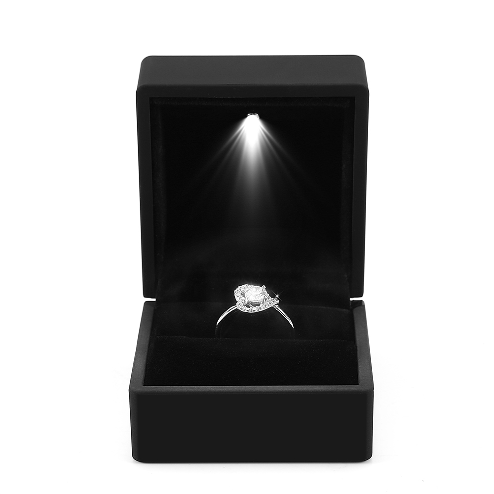 Led Light Engagement Wedding Ring Box Pendant Jewelry