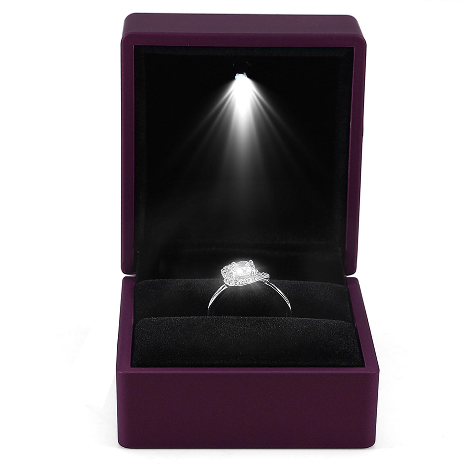 led bo te bagues anneau boucle d 39 oreille mariage fian aille bo te de rangement ebay. Black Bedroom Furniture Sets. Home Design Ideas