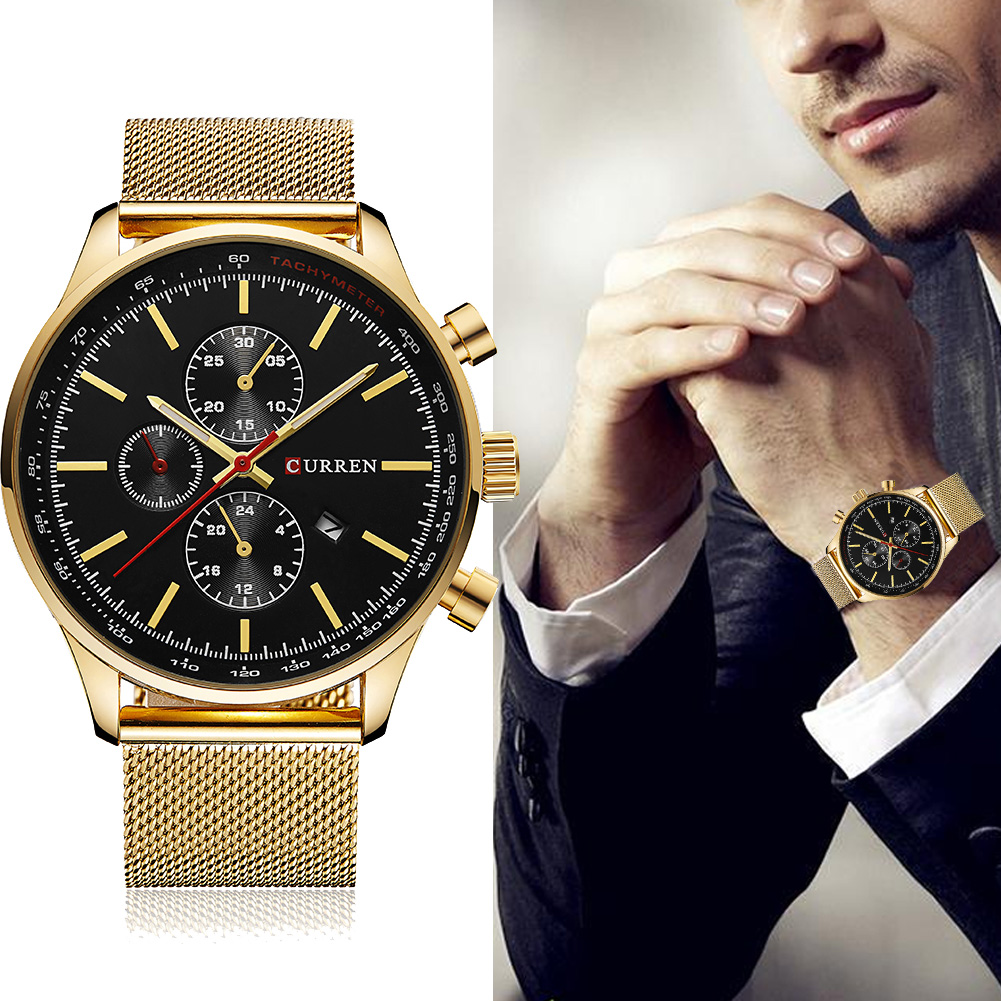 CURREN-New-Luxury-Watch-Men-Watches-Gold-Silver-Steel-Quartz-Calendar-Wristwatch