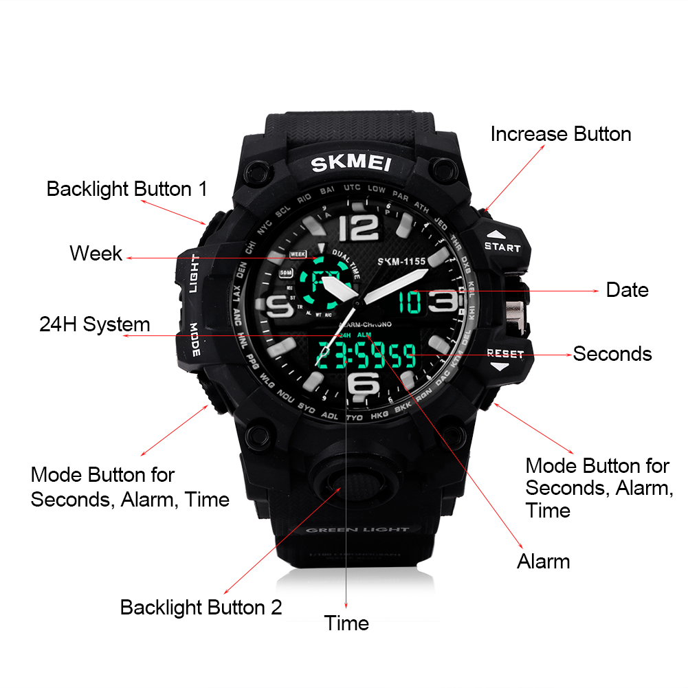 Men-039-s-Wristwatch-SKMEI-LED-Digital-Date-Military-Sports-Army-Waterproof-Watch