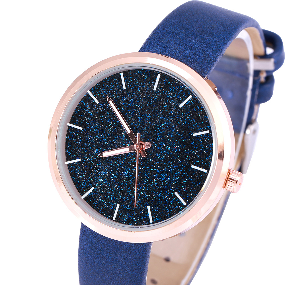 Womens-Ladies-Quartz-Watches-PU-Leather-Strap-Glitter-Bling-Dial-Wrist-Watch