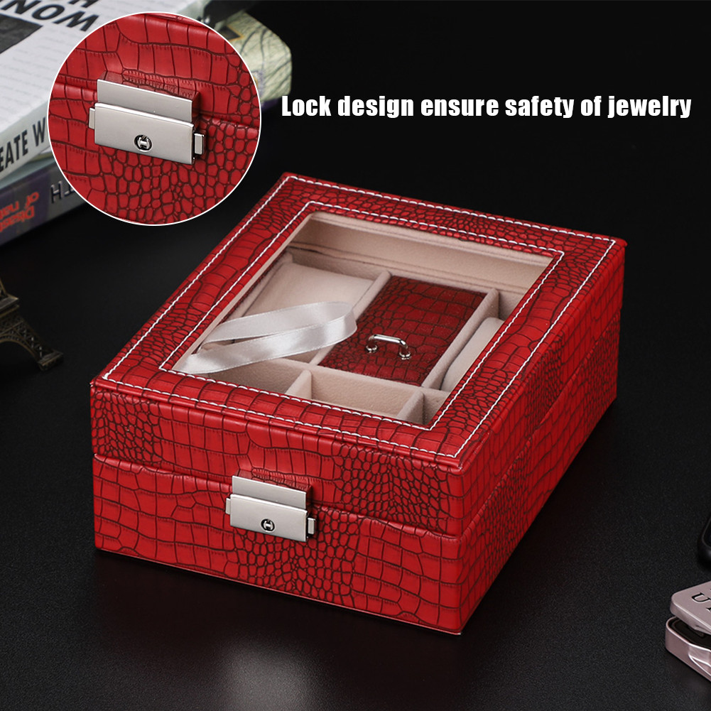 Jewelry Box Case Ring Earring Necklace Mirror Storage Display