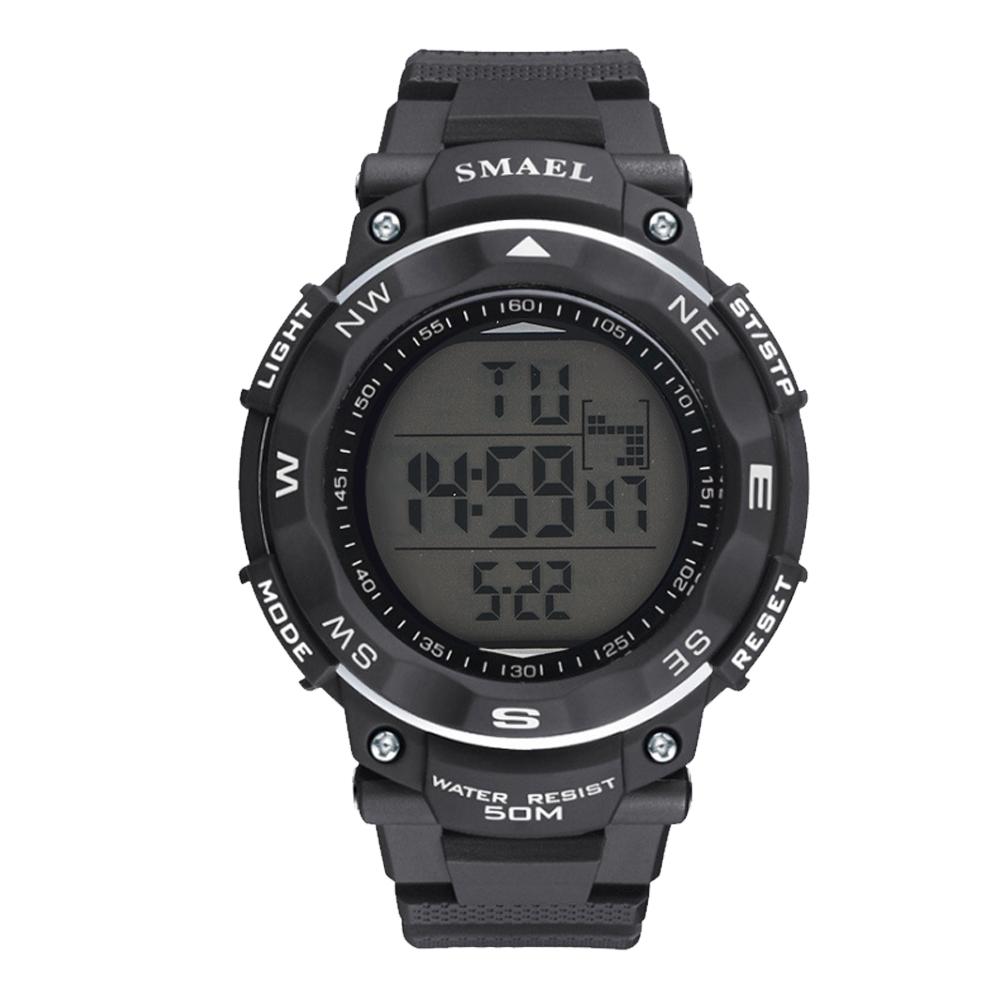 SMAEL-Men-039-s-Sports-Watches-LED-Digital-Stainless-Steel-Black-Quartz-Wrist-Watch