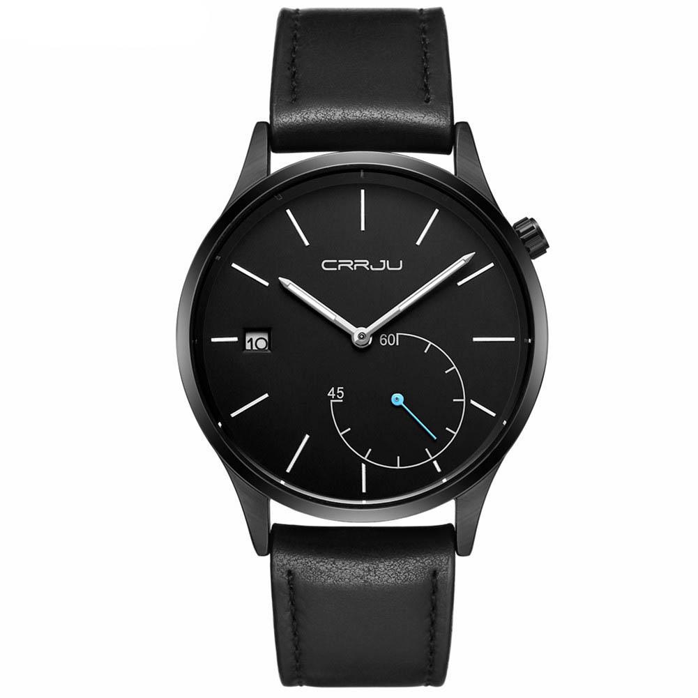 CRRJU-Men-039-s-Date-Dial-Wrist-Watch-Gold-Silver-Analog-Quartz-Leather-Wristwatch