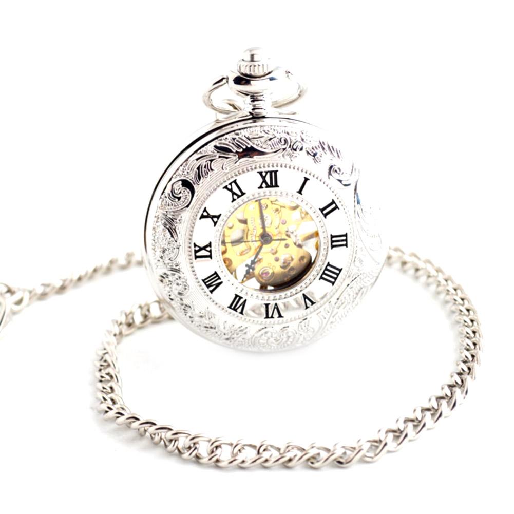Antique-Mechanical-Skeleton-Steampunk-Mens-Pocket-Watch-Open-Case-Roman-Watches