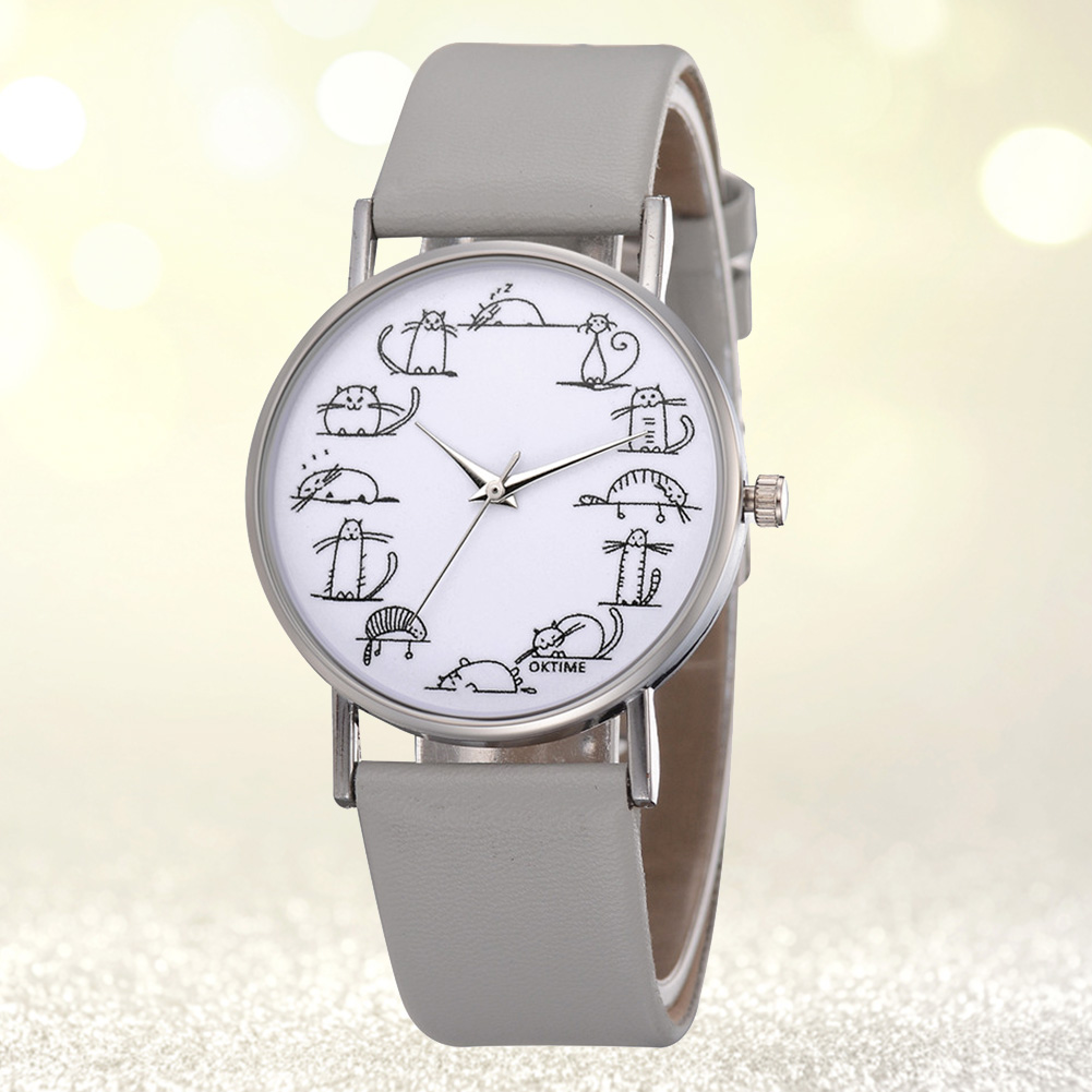 Fashion-Women-Watch-Cat-Pattern-Leather-Strap-Analog-Casual-Students-Wrist-Watch