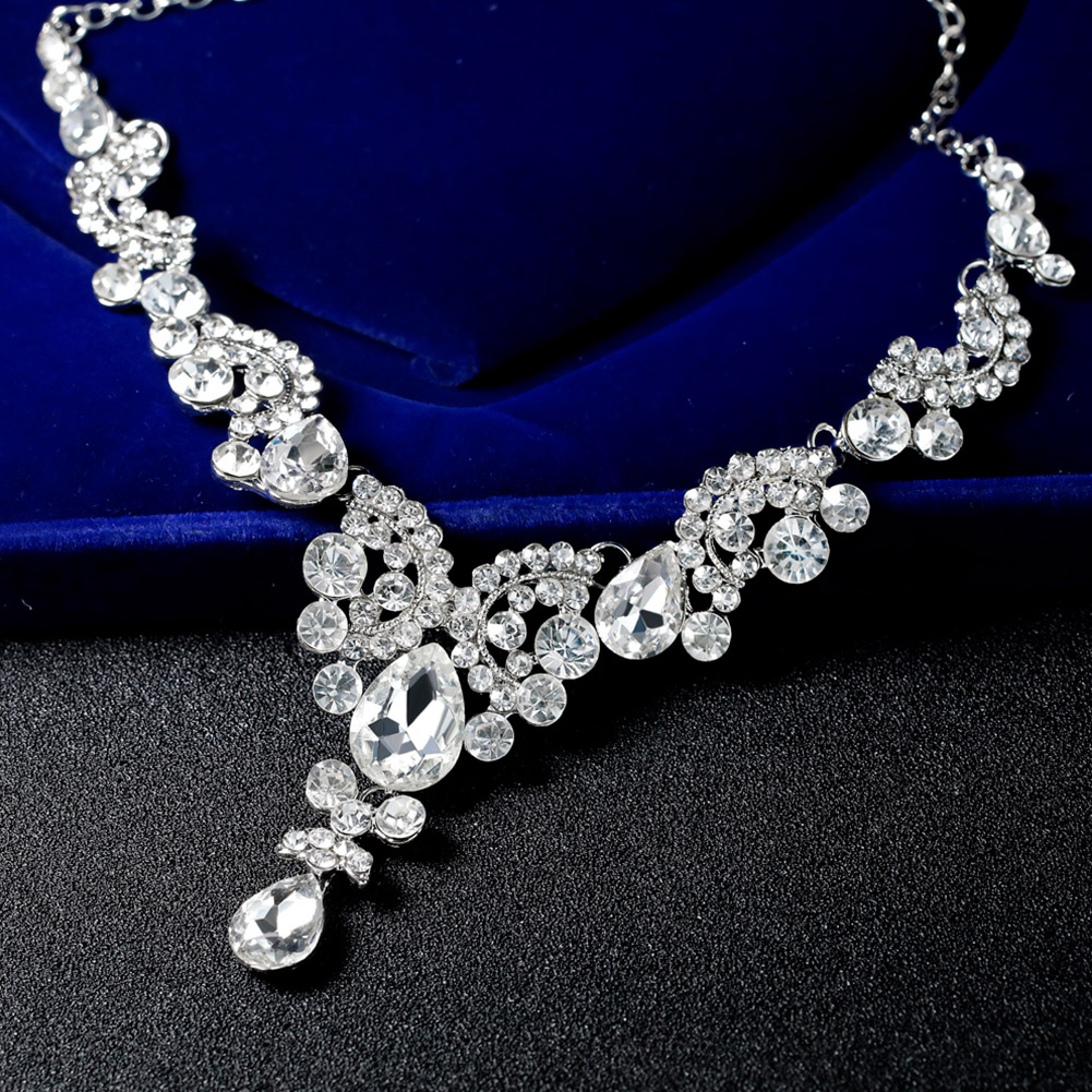 Womens Bib Crystal Pearl Pendant Chunky Chain Collar Statement Necklace Earrings