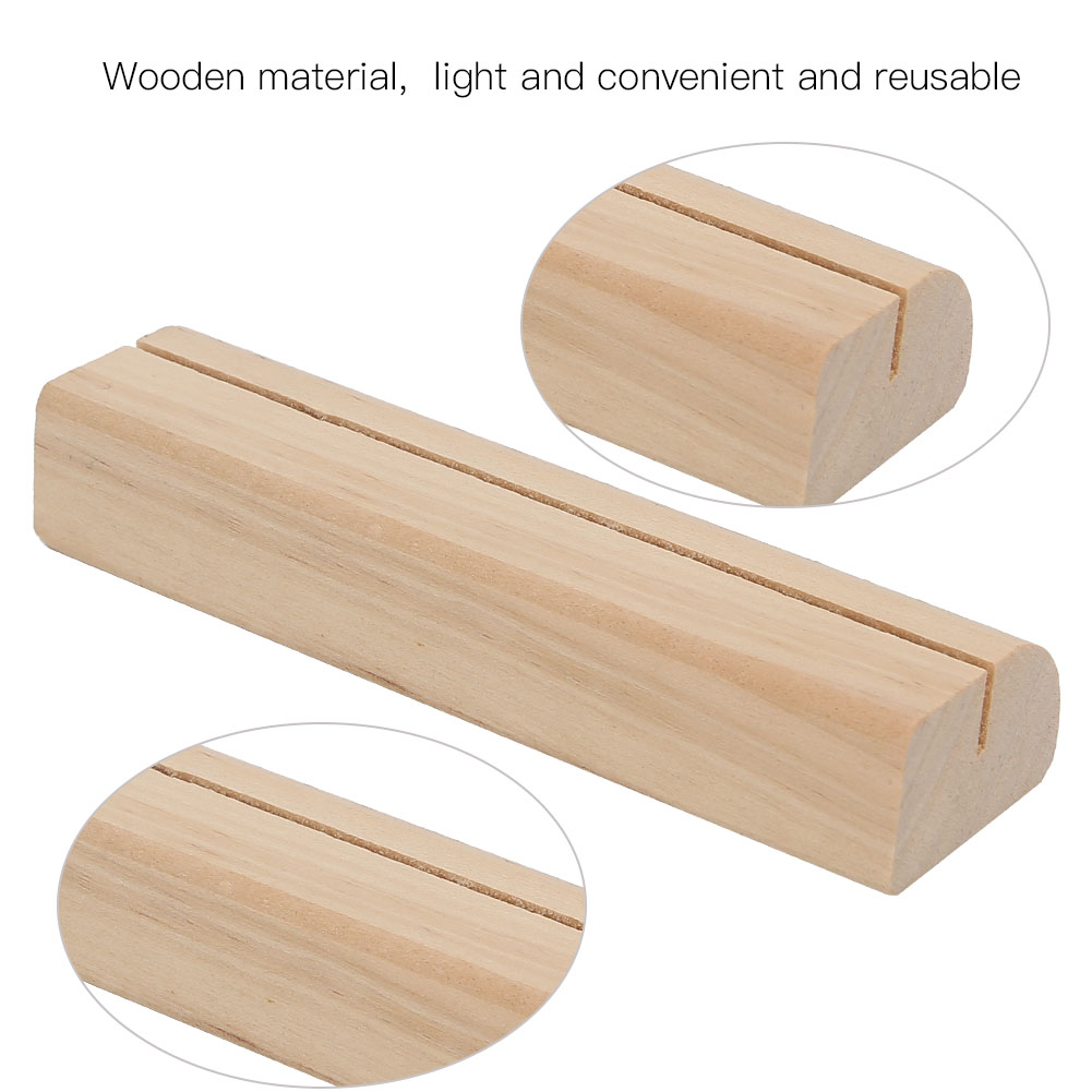5pcs High Quality Wooden Business Card Holder Note Clamp Office Sign-In Supplies 6
