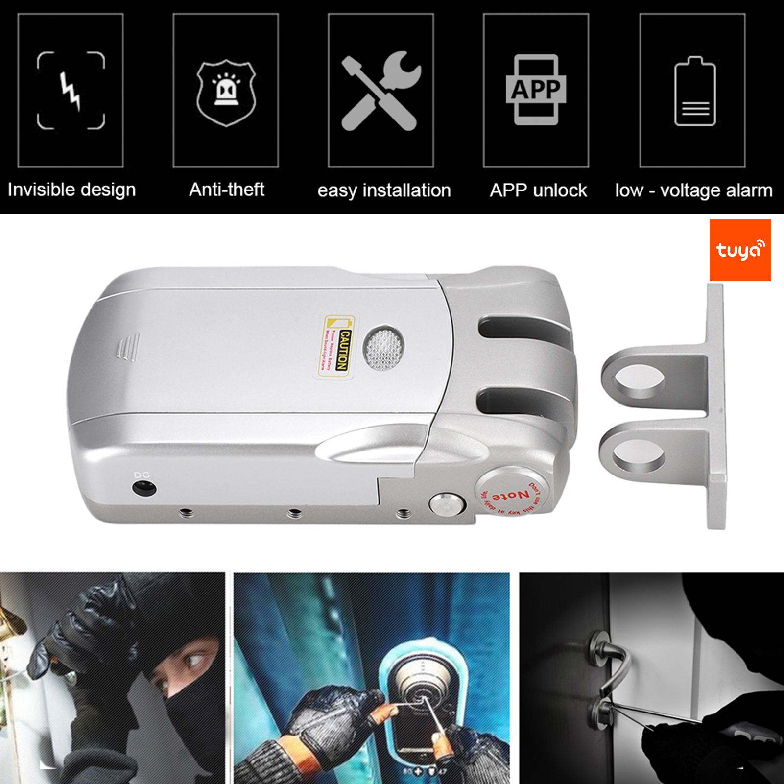 433Mhz-WIFI-Wireless-Door-Lock-Remote-Control-USB-Charging-For-Home-Security miniature 15