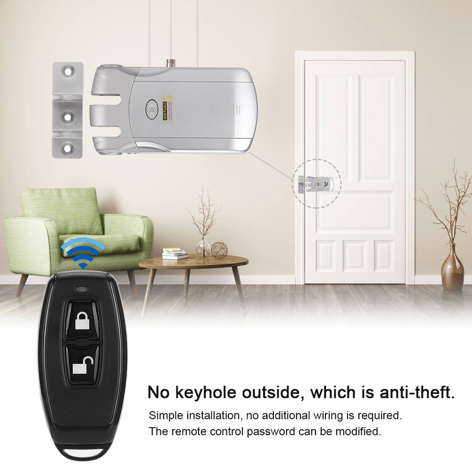 433Mhz-WIFI-Wireless-Door-Lock-Remote-Control-USB-Charging-For-Home-Security miniature 17