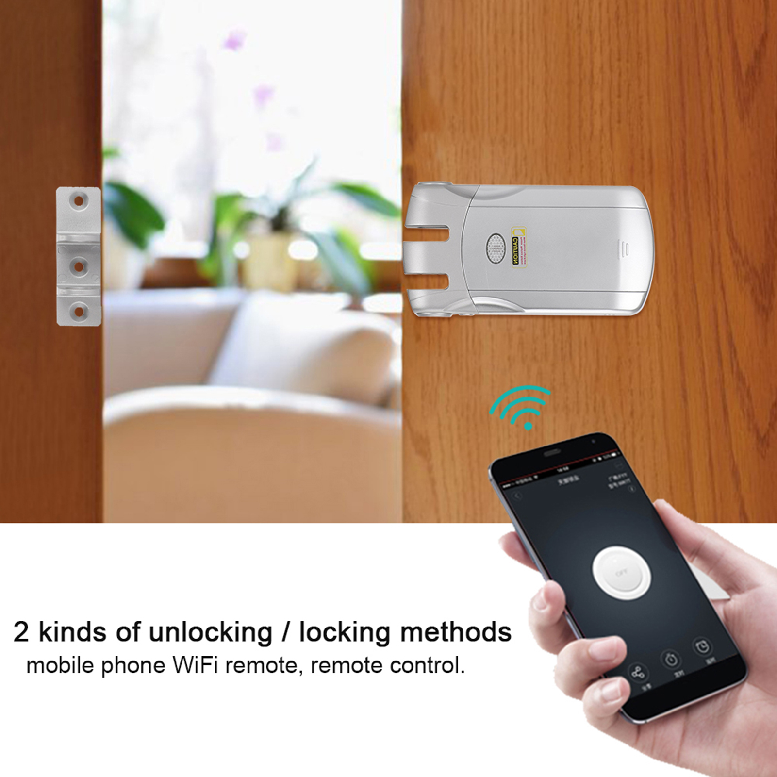 433Mhz-WIFI-Wireless-Door-Lock-Remote-Control-USB-Charging-For-Home-Security miniature 18