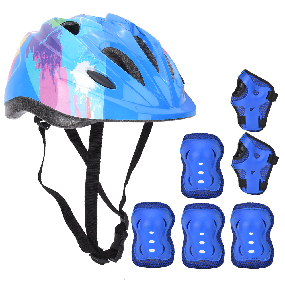 7pcs Boys /& Girls Kids Skate Cycling Bike Safety Helmet Knee Elbow Pad Cartoon