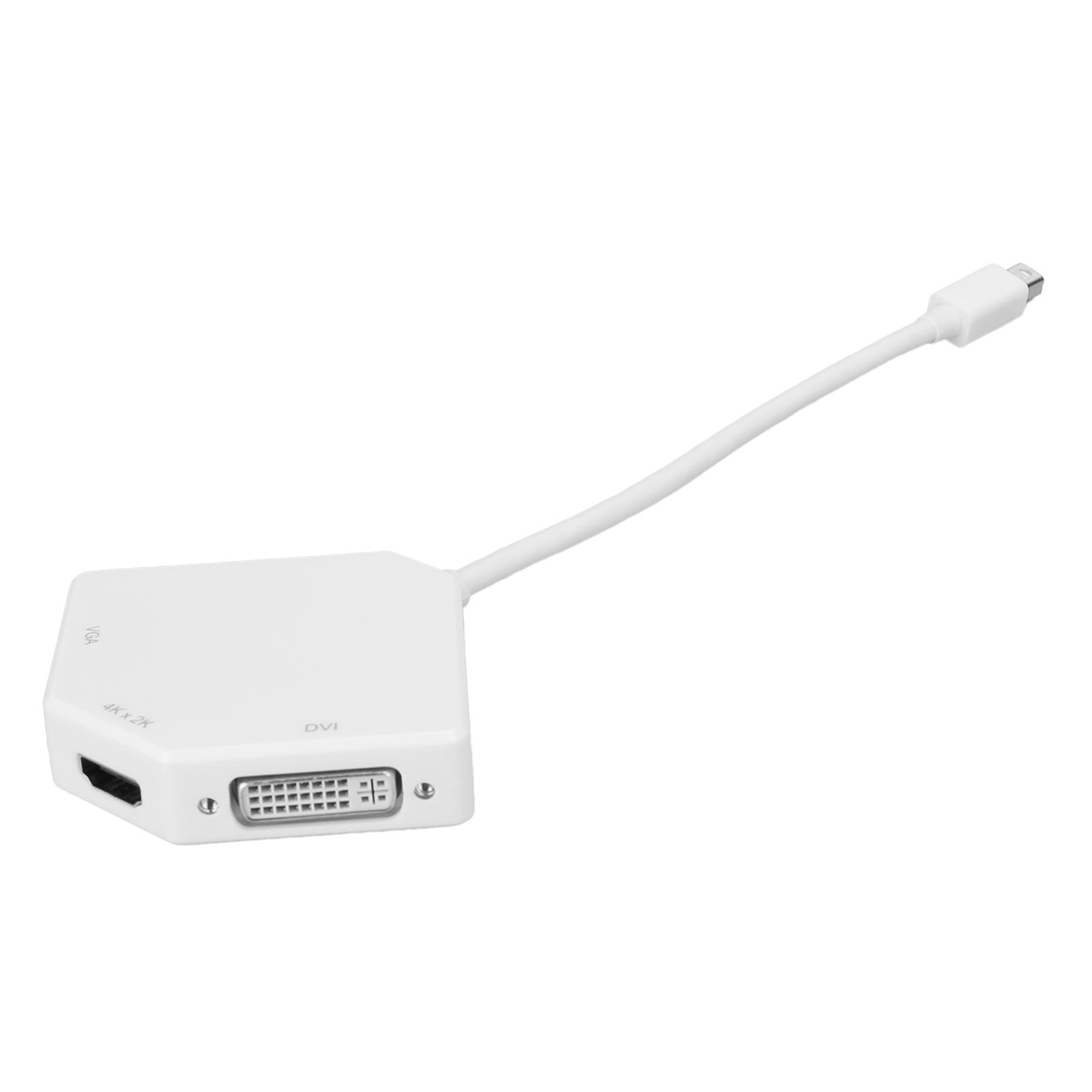 thumbnail 8 - Mini-DP-To-VGA-HDMI-DVI-Conveter-3In1-1080P-Video-Electronic-Adapter-White-B0404
