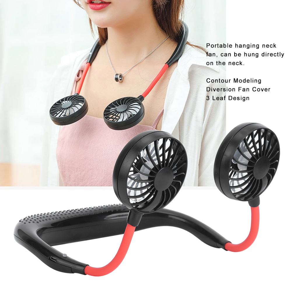 Mini Portable USB Rechargeable Hanging Neck Fan Travel Outdo
