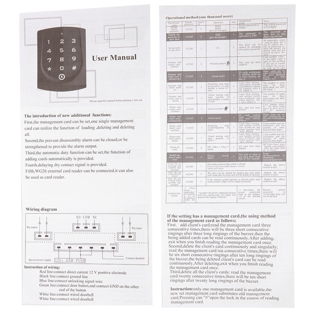 Lettore-di-controllo-accessi-porta-IC-ID-Card-Password-Tastiera-Sistema-di miniatura 13