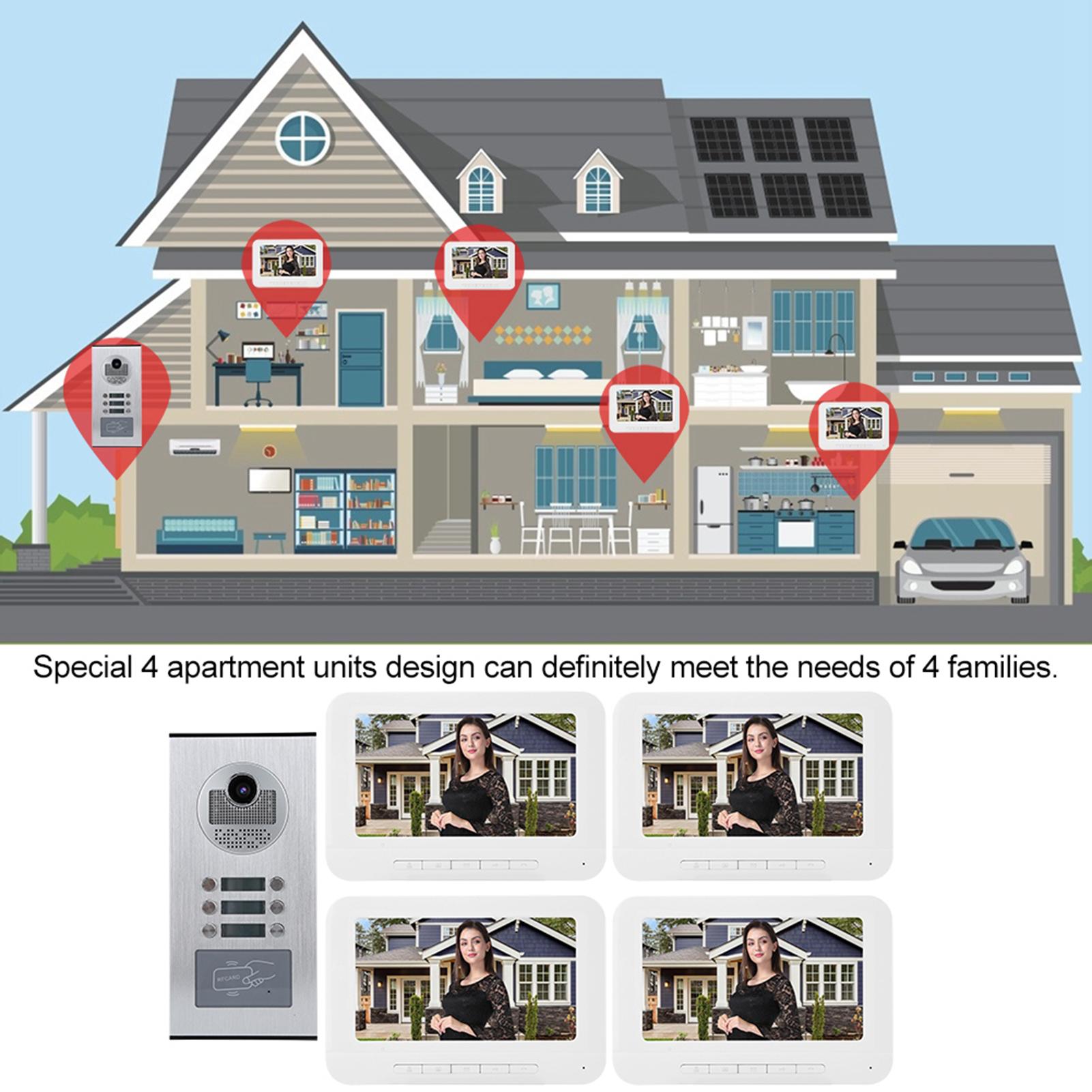 Audio-Intercom-Doorbell-7in-TFT-LCD-Video-Camera-Outdoor-Night-View-Waterproof miniature 20