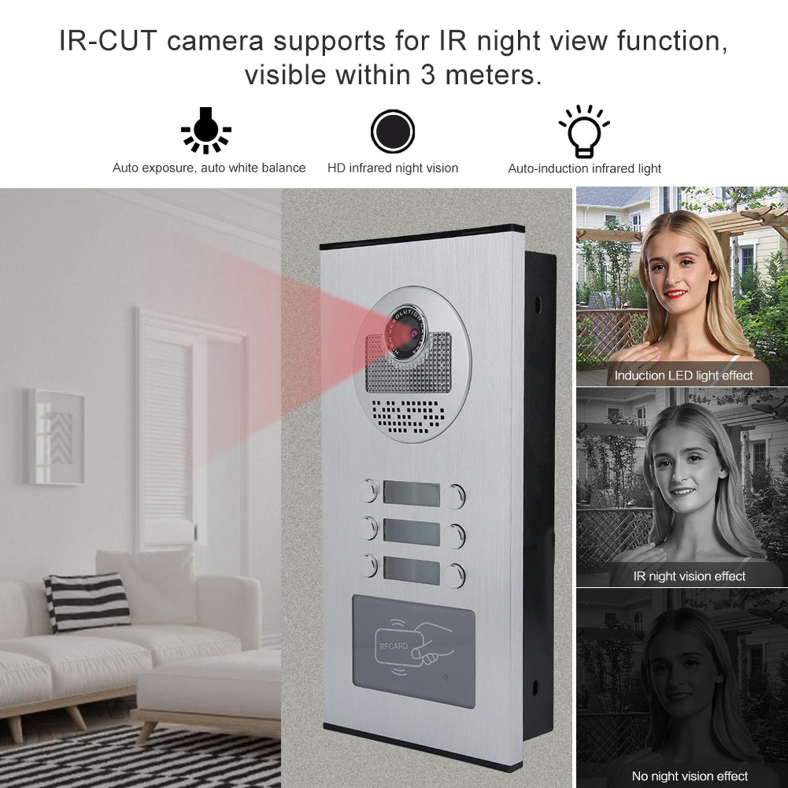 Audio-Intercom-Doorbell-7in-TFT-LCD-Video-Camera-Outdoor-Night-View-Waterproof miniature 14