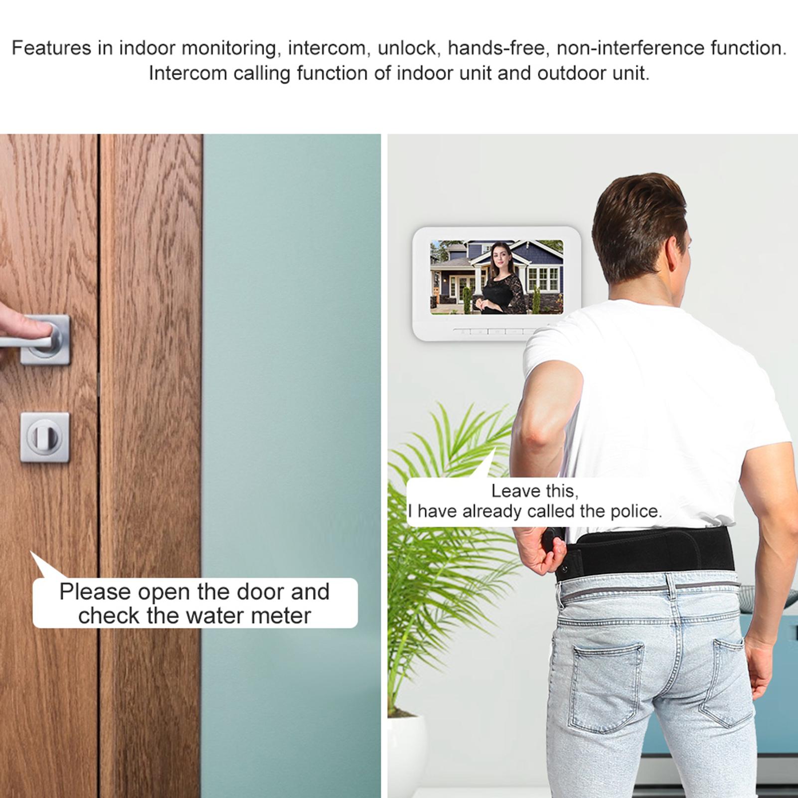 Audio-Intercom-Doorbell-7in-TFT-LCD-Video-Camera-Outdoor-Night-View-Waterproof miniature 15