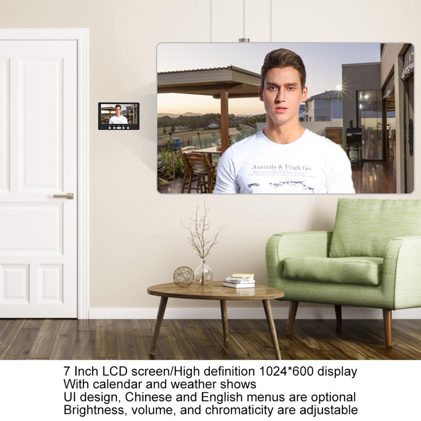 Audio-Intercom-Doorbell-7in-TFT-LCD-Video-Camera-Outdoor-Night-View-Waterproof miniature 22