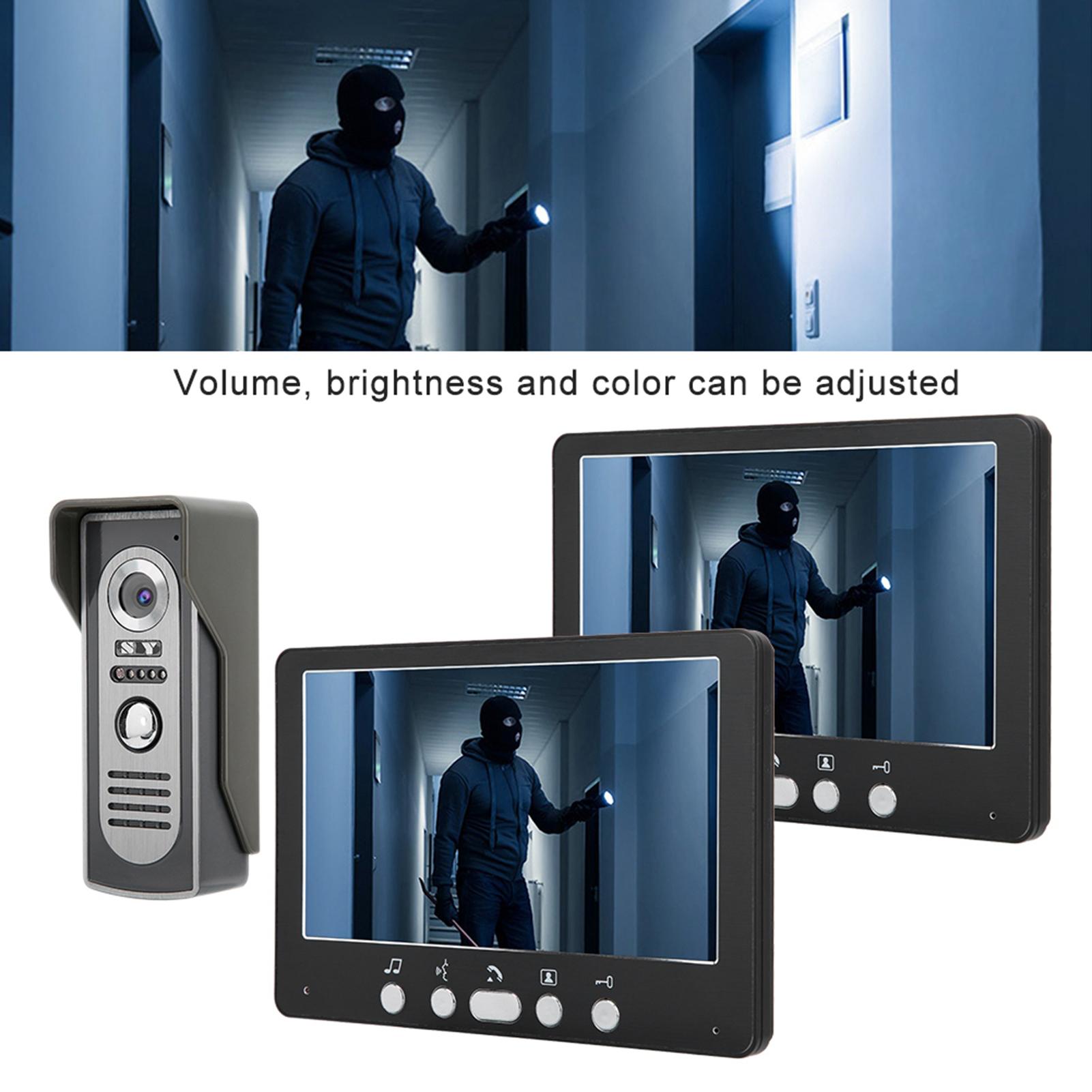 Audio-Intercom-Doorbell-7in-TFT-LCD-Video-Camera-Outdoor-Night-View-Waterproof miniature 24