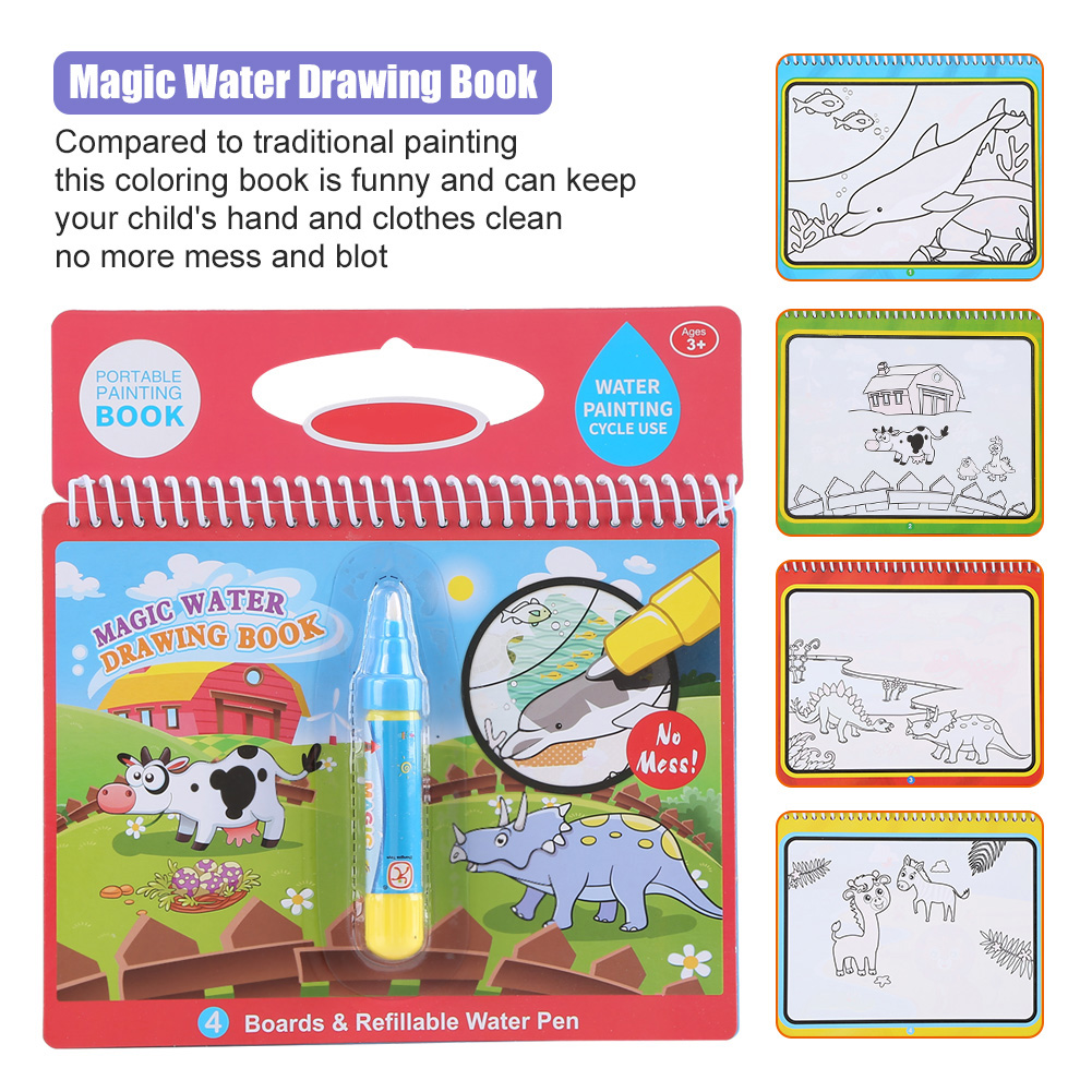 Reusable Children Magic Coloring Painting Book with Water Drawing ...