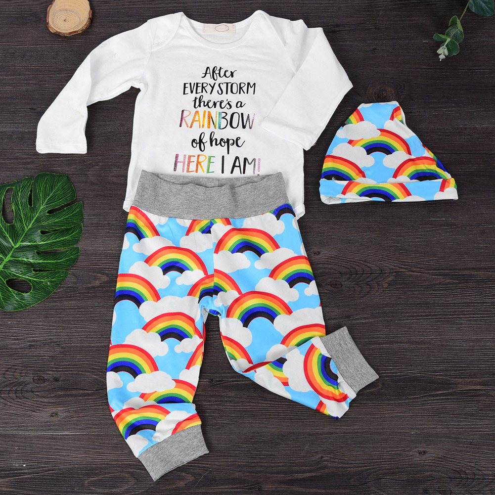 Soft Breathable 3Pcs Baby Outfit Set Rainbow Long Sleeve ...