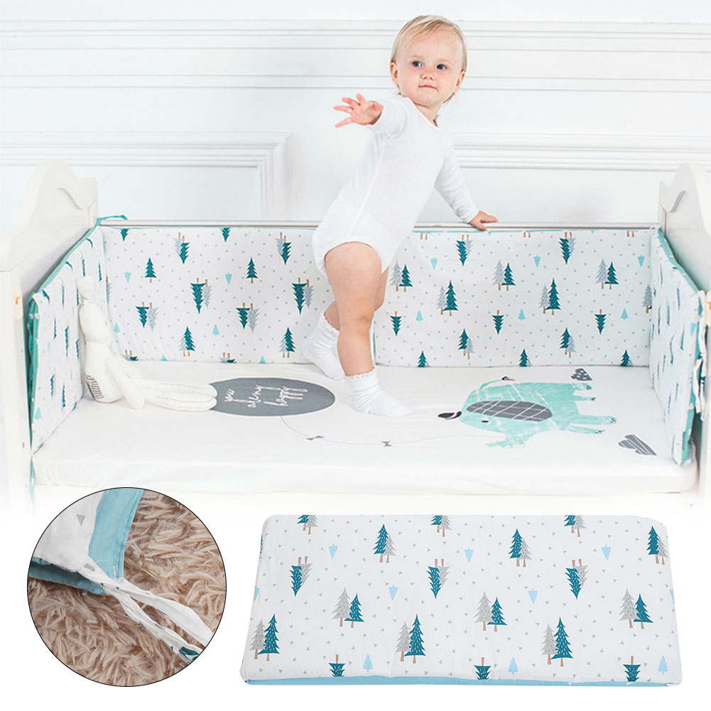 Soft-Cotton-Baby-Bed-Bumper-Crib-Safe-Protection-Cushion-Infant-Bed-Sheets thumbnail 12