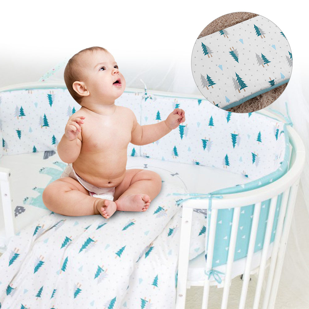 Soft-Cotton-Baby-Bed-Bumper-Crib-Safe-Protection-Cushion-Infant-Bed-Sheets thumbnail 13