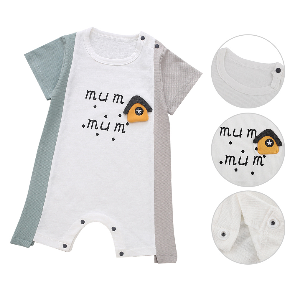 Cute-Short-Sleeves-Boys-Girls-Baby-Infant-Newborn-Jumpsuit-for-3-12-Months thumbnail 13