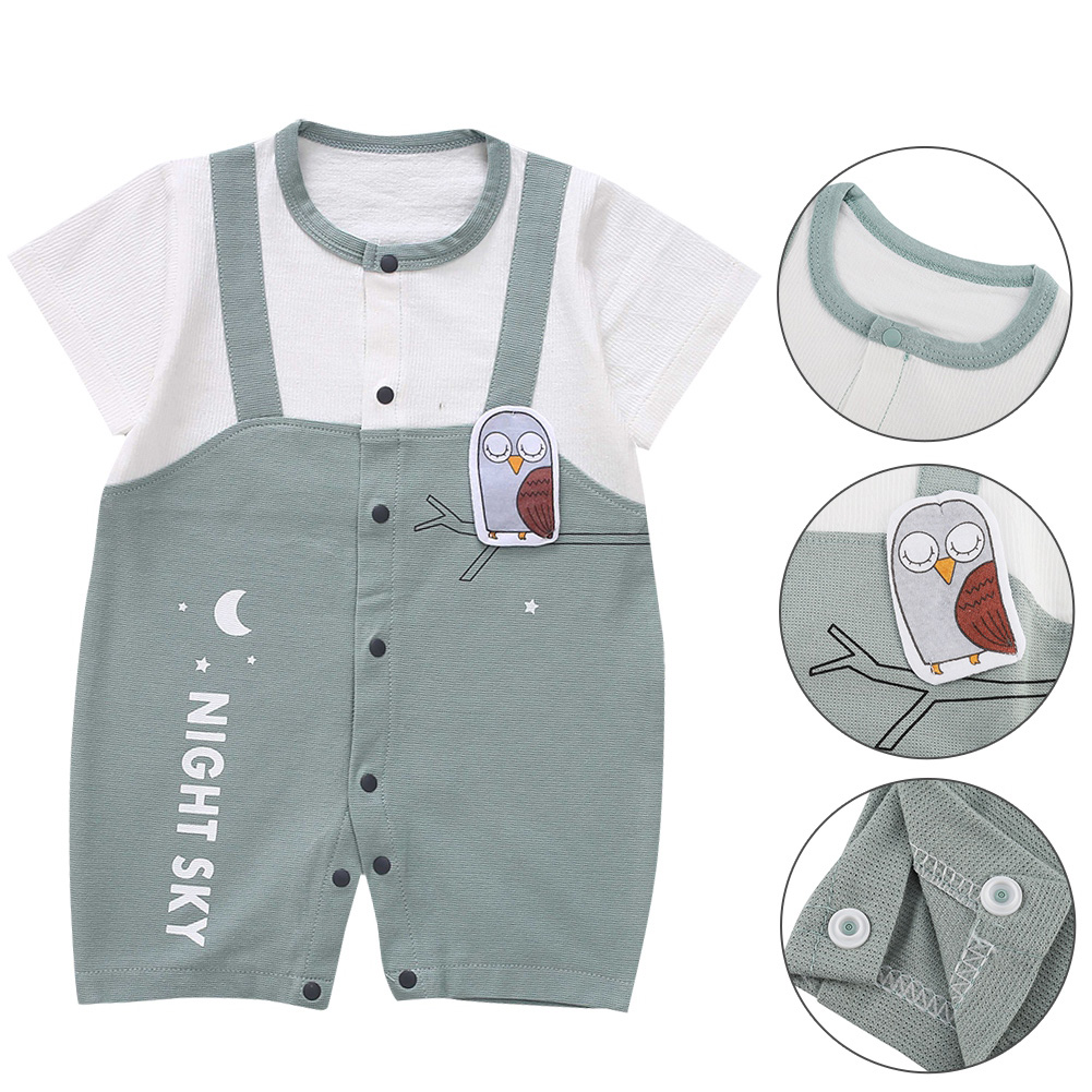 Cute-Short-Sleeves-Boys-Girls-Baby-Infant-Newborn-Jumpsuit-for-3-12-Months thumbnail 52