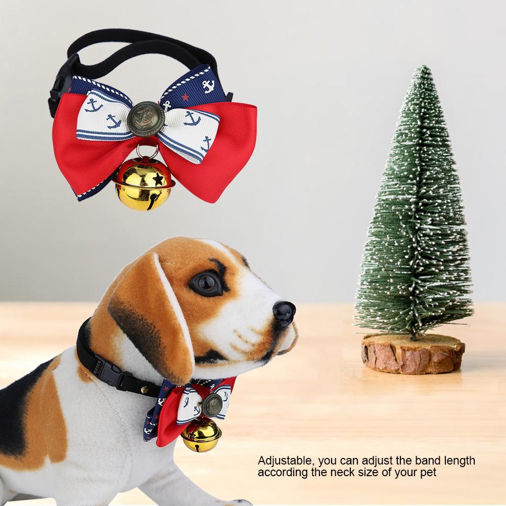 Adjustable Bowtie Christmas Pet Cat Dog Neck Bowtie Bowknot Bell Bow ...